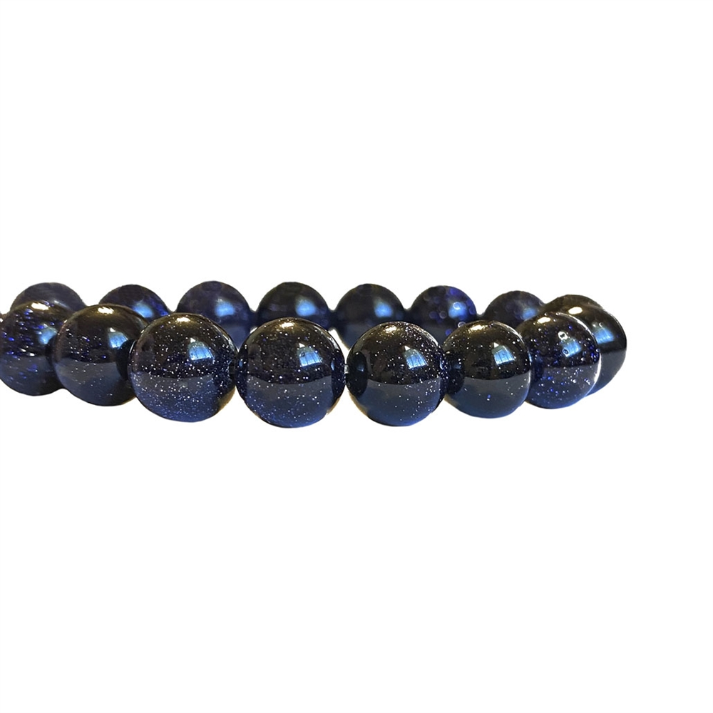 semi-precious beads, blue goldstone beads, 8mm round beads, blue goldstone, midnight goldstone beads, round stone, natural stone beads, semi-precious, bead stone, B'sue Boutiques, beads, beads with gold flakes, sparkling beads, 8mm, 04381