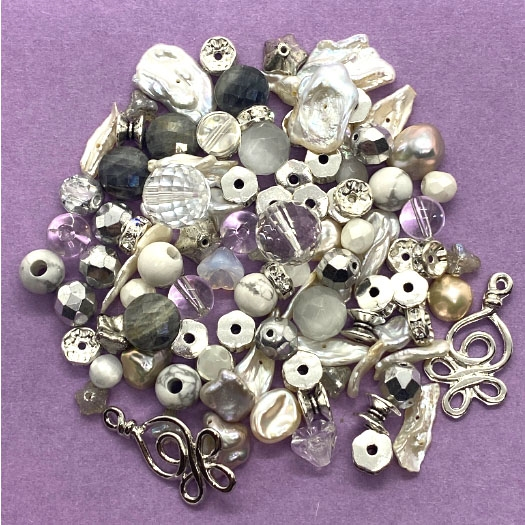 natural keshi pearls, 04584, assortment, semi precious mix, rock crystal, howlite, assorted stones, cat's eye, B'sue Boutiques, jewelry supplies, beading, bead assortment, assorted semi precious