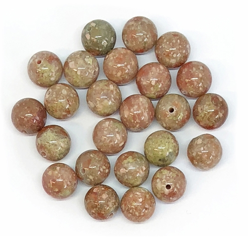 semi precious beads, Unakite beads, gemstone beads, stone beads, stones, semi precious stones, red beads, pink beads, green beads, natural beads, 8mm stone beads, B'sue Boutiques, 8mm semi precious stone beads, 05224