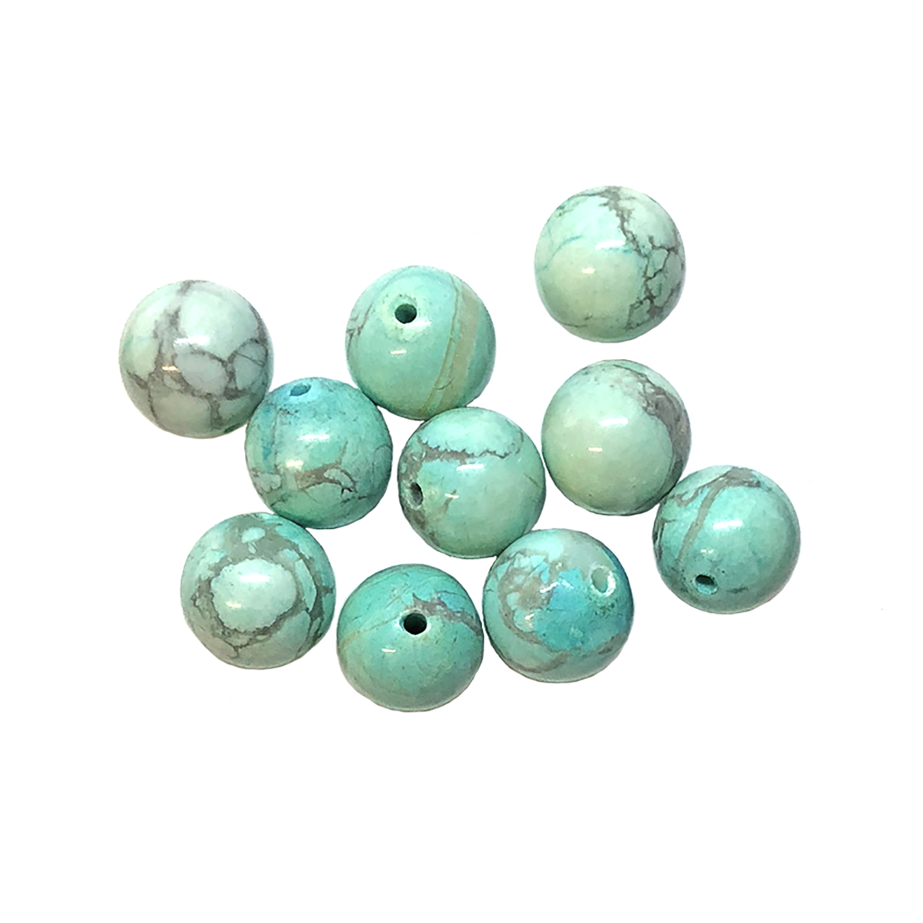 semi precious beads, turquoise, Chinese turquoise focal beads, 8mm bead, bead stone, natural bead, dyed howlite, turquoise blue, black matrix stone, semi precious beads, 18mm, beads, B'sue Boutiques, bead, jewelry making, beading supplies, 09033