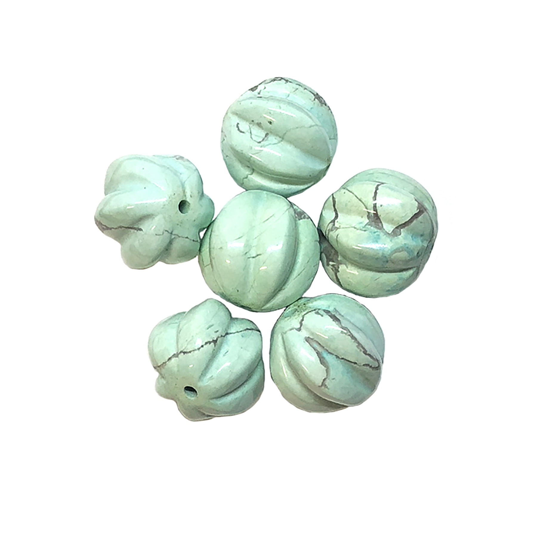 semi precious beads, turquoise, Chinese turquoise focal beads, 15x8mm bead, bead stone, natural bead, dyed howlite, turquoise blue, black matrix stone, semi precious beads, 12mm, beads, B'sue Boutiques, bead, jewelry making, beading supplies, melon, 09034
