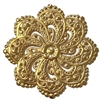 floral filigree flower stamping, 22K satin gold, gold brass, filigree flower, brass stamping, floral stamping, jewelry stamping, jewelry flower, jewelry making, vintage supplies, jewelry supplies, satin gold flower, jewelry findings, 46mm, 02590
