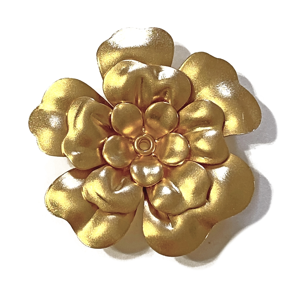 three layered tea rose, 22K satin gold, gold brass, brass stamping, flower, rivet, tea rose, 40mm, flower jewelry, rose, US made, jewelry making, vintage supplies, jewelry supplies, jewelry findings, dimensional flower, layered flower, 02597