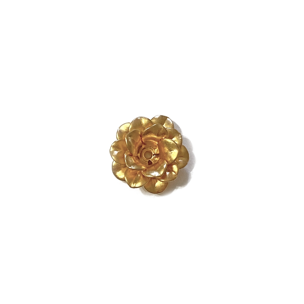 small tea rose flower, riveted flower, gold flowers, 22K satin gold brass finish, B'sue Boutiques, nickel free, US made, vintage supplies, jewelry making, jewelry supplies, layered flower, beading supplies, gold, satin gold, 13mm, 02599