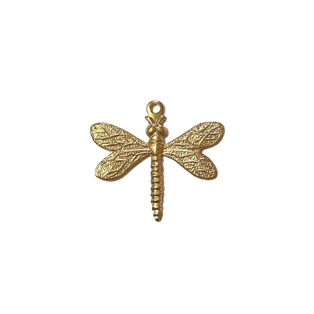 dragonfly charm, 22K satin gold, gold brass, dragonfly, charm, brass charm, US made, nickel free, 20x21mm, bug charm, jewelry making, dragonfly jewelry, vintage supplies, jewelry supplies, jewelry findings, brass stamping, B'sue Boutiques, 02604