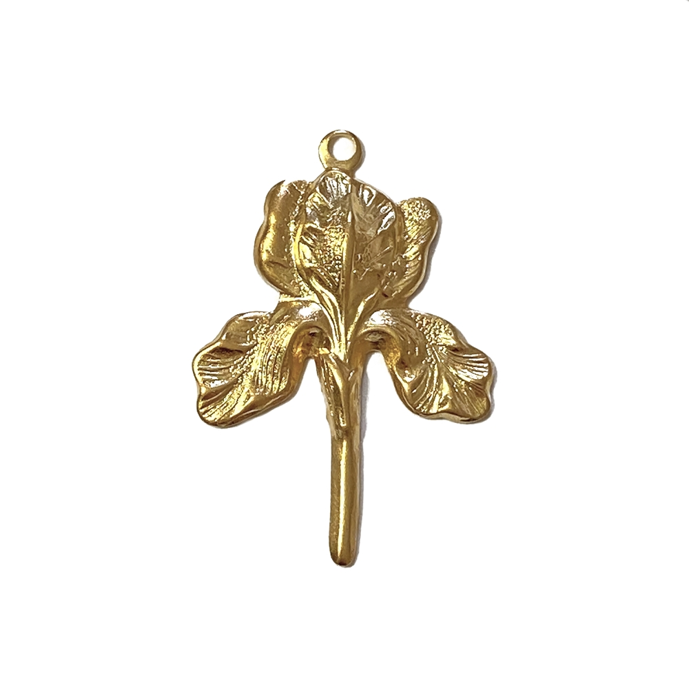 iris flower drop, 22K satin gold brass, gold brass, satin gold, flower drop, flower charm, charm, three petal charm, jewelry charm, charm drop, jewelry making, vintage supplies, jewelry findings, jewelry supplies, 30x22mm, gold flower, 02605