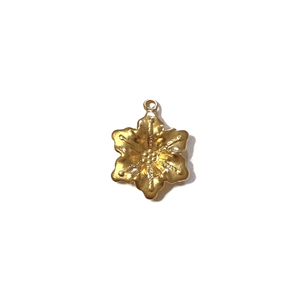 flower drop charm, 22K satin gold brass, gold brass, gold, satin gold, drop charm, flower charm, charm, jewelry charm, jewelry making, jewelry supplies, jewelry findings, vintage supplies, 15mm, flower jewelry, B'sue Boutiques, 02606