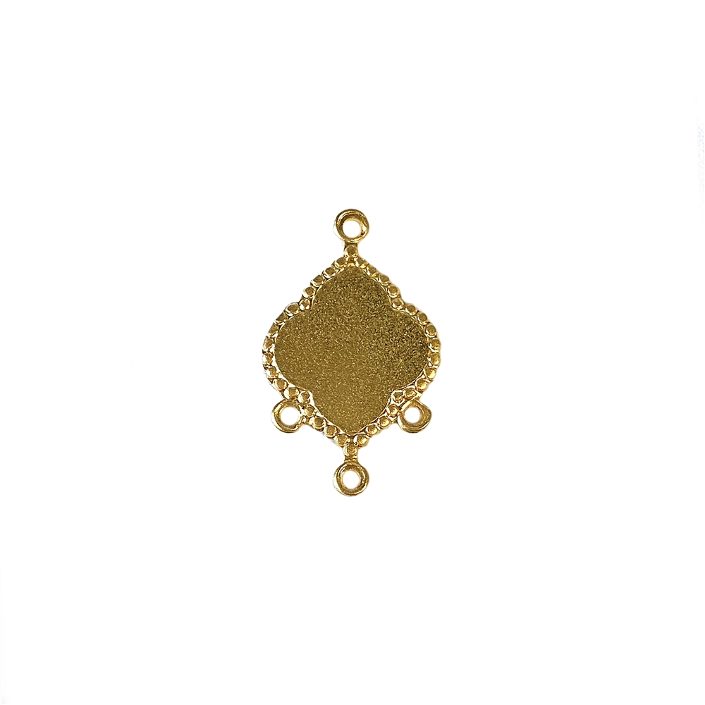gypsy drop, 22K satin gold brass, drop, charm, earring drop, centerpiece drop, flower drop, blank center, centerpiece, earring drops, 20x13mm, jewelry making, jewelry supplies, B'sue Boutiques, US-made, nickel-free, jewelry drop, 02644