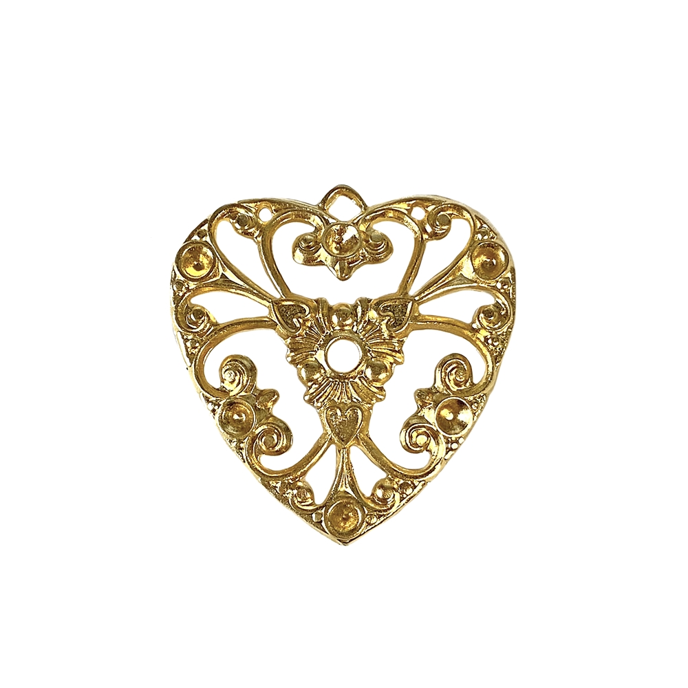 filigree heart charm, 22K satin gold brass, pendant, gold, filigree, heart, charm, set stones, brass stamping, heart filigree, US-made, nickel-free, B'sue Boutiques, 27x26mm, brass base, jewelry making, jewelry supplies, vintage supplies, 02648