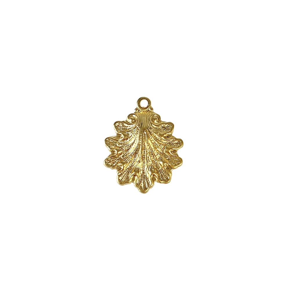 shell charm, 22K satin gold brass, brass, gold, satin gold, 22K gold, shell, charm, 15x14mm, 22 karat gold, jewelry making, vintage supplies, B'sue Boutiques, US-made, nickel free, jewelry supplies, sea charm, seashell charm, vintage supplies, 02649