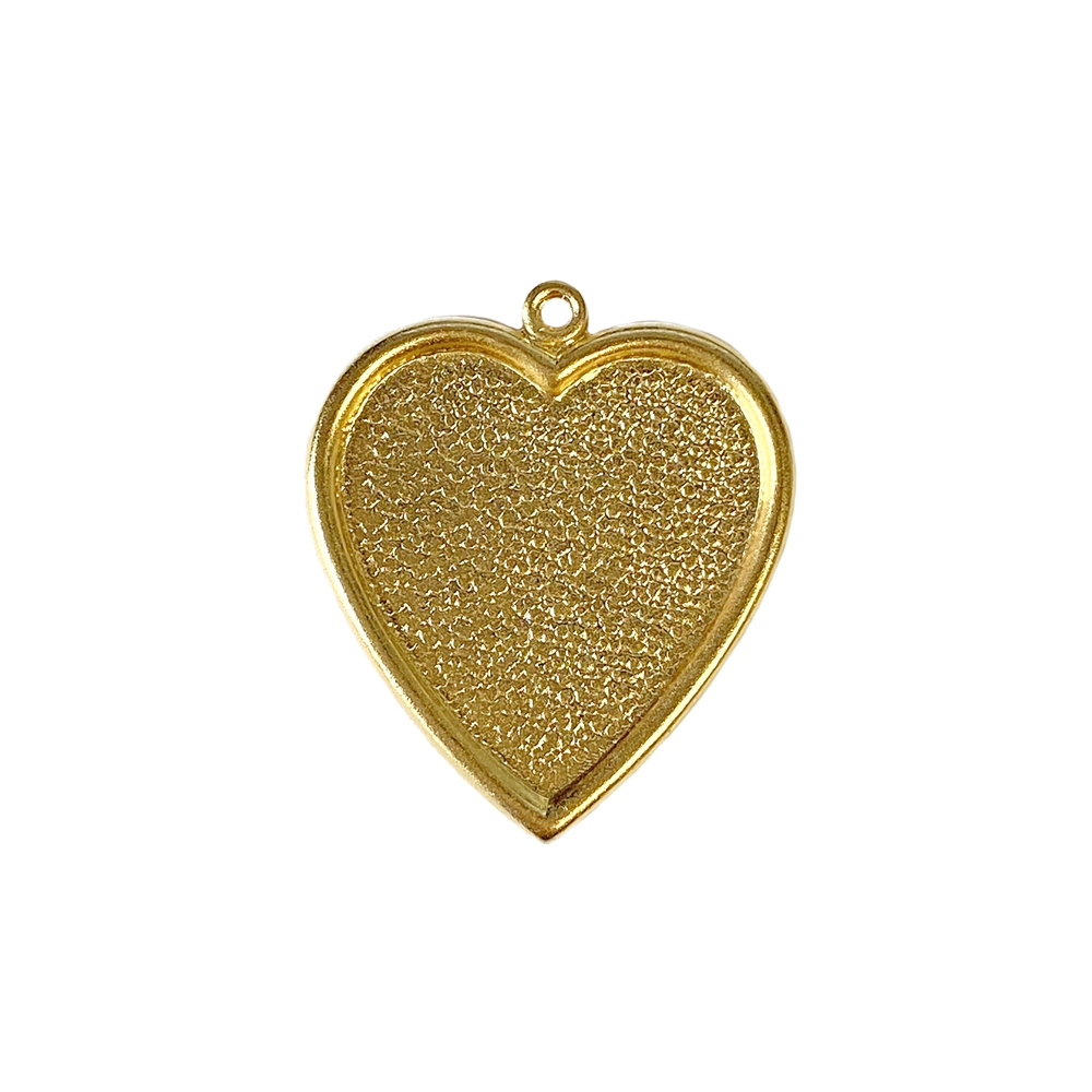 inlay heart charm, 22K satin gold brass, gold, satin gold, heart charm, heart, heart pendant, heart mount, pendant, gold brass, brass, charm, inlay, resin mount, mount, 25x24mm, 22 karat gold, jewelry making, vintage supplies, B'sue Boutiques, 02652