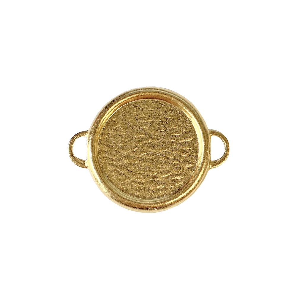 round connector, 22K satin gold brass, gold brass, gold, satin gold, 18mm mount, jewelry connector, connector mount, bezel,  jewelry findings, jewelry making, jewelry supplies, mount connector, B'sue Boutiques, mount, connector bezel, round mount, 02655