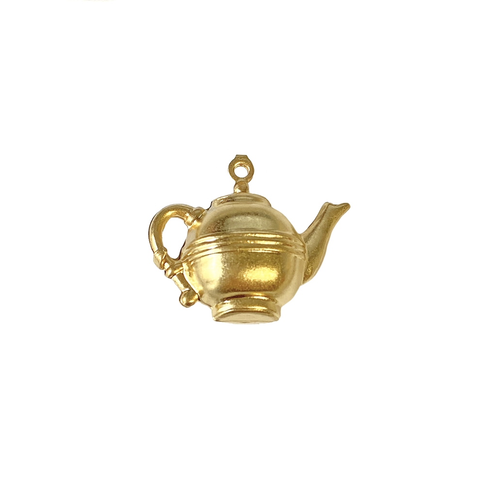 vintage teapot, 22K satin gold brass charm, brass, pendant, vintage style, 3D hollow, tea, hollow charm, teapot, pot, doll tea pot, satin gold, US-made, nickel free, B'sue Boutiques, vintage supplies, jewelry supplies, jewelry findings, 14x21mm, 02659