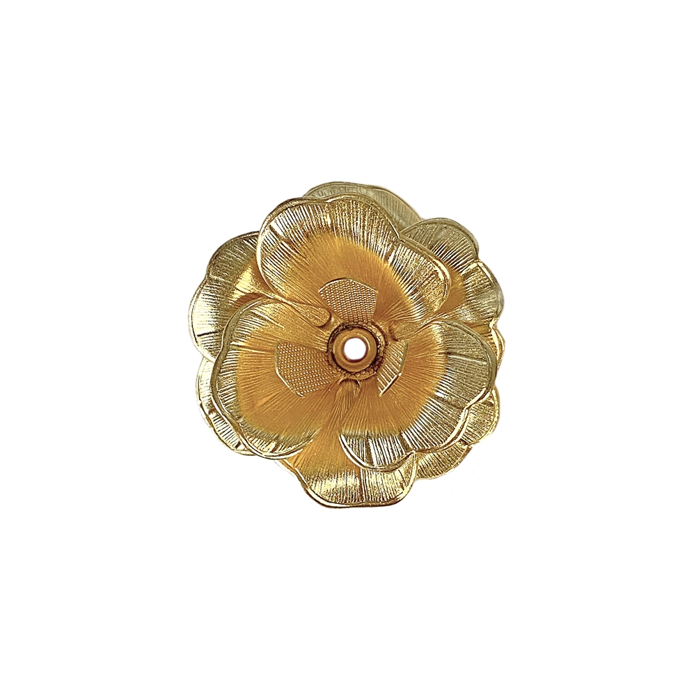 riveted tea rose, 22K satin gold brass, rose, flower, brass stamping, brass tea rose, tea rose, riveted rose, rose, 4 layers, 24mm, brass flowers, US-made, nickel free, B'sue Boutiques, jewelry supplies, vintage supplies, jewelry findings, leaves, 02661