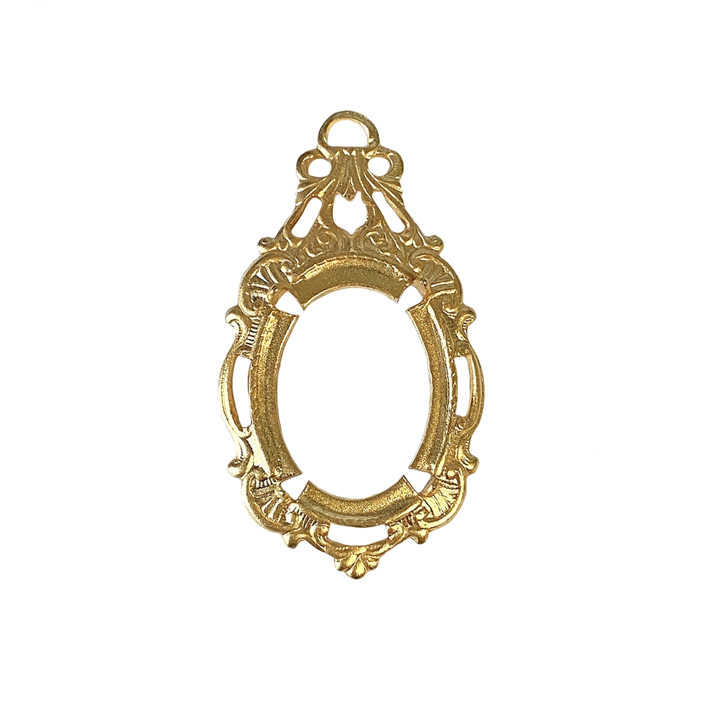victorian style bezel, pendent design, 22K satin gold brass, gold brass, victorian, bezel, pendent, 18x13mm, backless bezel, mount, US-made, nickel free, B'sue Boutiques, vintage supplies, jewelry supplies, jewelry making, jewelry findings, 02662