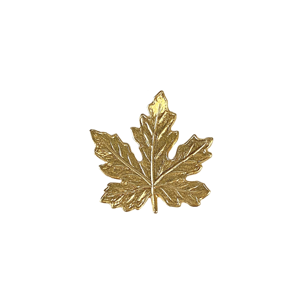 leaf jewelry, gold, satin, brass leaves, jewelry making, 22K satin gold brass, B'sue Boutiques, nickel free, jewelry supplies, US made, vintage supplies, altered art jewelry, 41mm, small maple leaf, leaf, maple leaf, brass stampings, leaf stamping, 02663