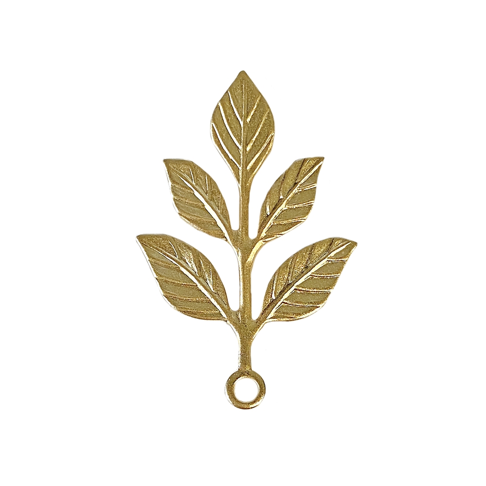 pretty five leaf drop, leaf drop, 22K satin gold brass, gold brass, satin gold, gold, branch drop, jewelry drop, jewelry making, jewelry supplies, vintage supplies, jewelry findings, five leaf drop, jewelry leaf, leaf jewelry, charm, pendant, 02664