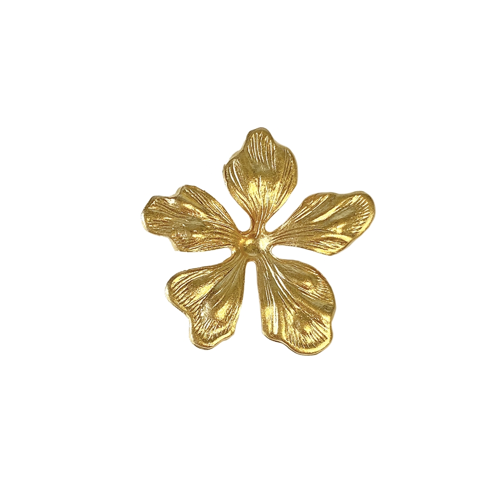 dogwood style flower, 22K satin gold brass, gold brass, satin gold, gold, brass stamping, dogwood leaves, dogwood, flower, stamping, gold jewelry, 23mm, vintage supplies, jewelry making, US made, jewelry supplies, nickel free, B'sue Boutiques, 02672