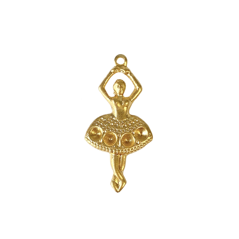 ballerina charm, 22K satin gold brass, satin gold, gold, gold brass, dancer, charm, ballet dancer, ballet, embellishment, dance, charms, gold charms, Bsue Boutiques, jewelry supplies, pendant, jewelry making, vintage supplies, 27x15mm, 02679