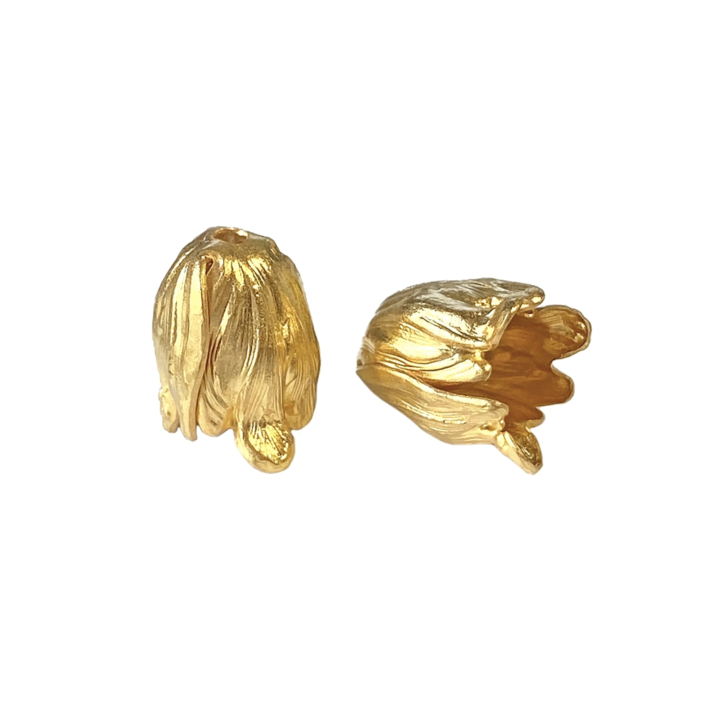 mini tulip beads, 22K satin gold brass, bead caps, beading supplies, gold, gold brass, satin gold, tulip beads, tulip, brass, 13mm, brass jewelry parts, vintage supplies, B'sue Boutiques, nickel free jewelry supplies, US-made, jewelry parts, 02681