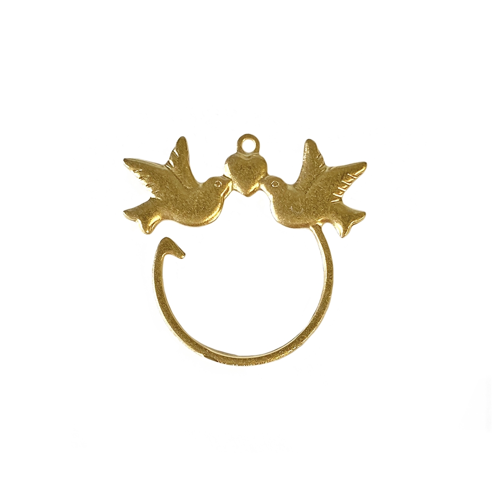 love dove charm enhancer, 22K satin gold brass, gold brass, satin gold, gold, bird, charm enhancer, earring holder, necklace holder, charm holder, bird jewelry, holder jewelry, love doves, jewelry supplies, jewelry making, vintage supplies, 24x25mm, 02683
