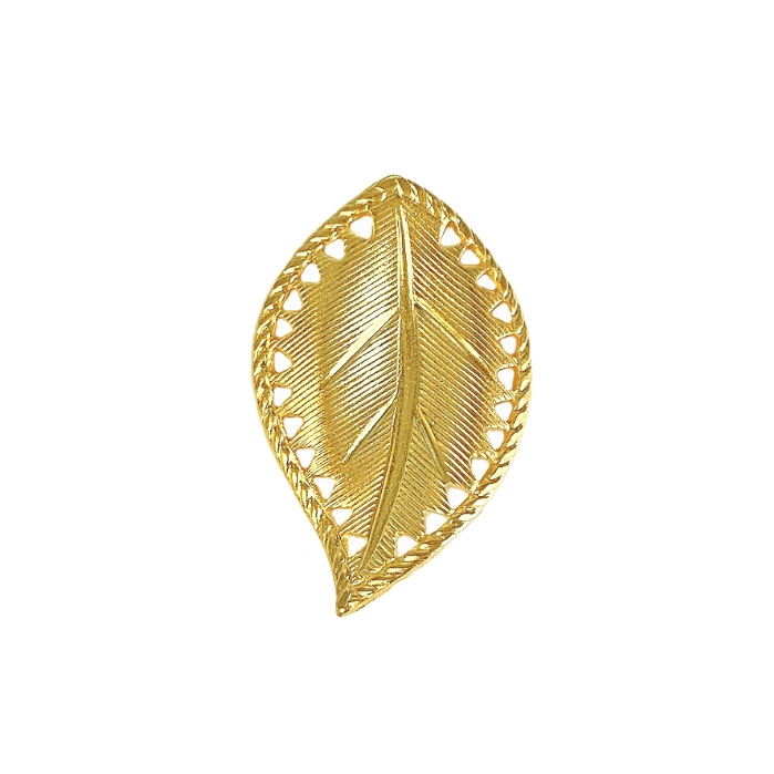 brass leaves, left facing beading leaf, jewelry supplies, 29mm, 22K gold finish brass, jewelry making, jewelry supplies, brass jewelry parts, US made, nickel free, B'sue Boutiques, gold leaves, curved leaves, leaf, 04168