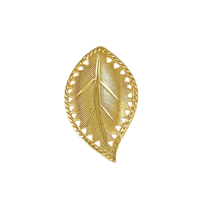 brass leaves, right facing beading leaf, jewelry supplies, 29mm, 22K gold finish brass, jewelry making, jewelry supplies, brass jewelry parts, US made, nickel free, B'sue Boutiques, gold leaves, curved leaves, leaf, 04170