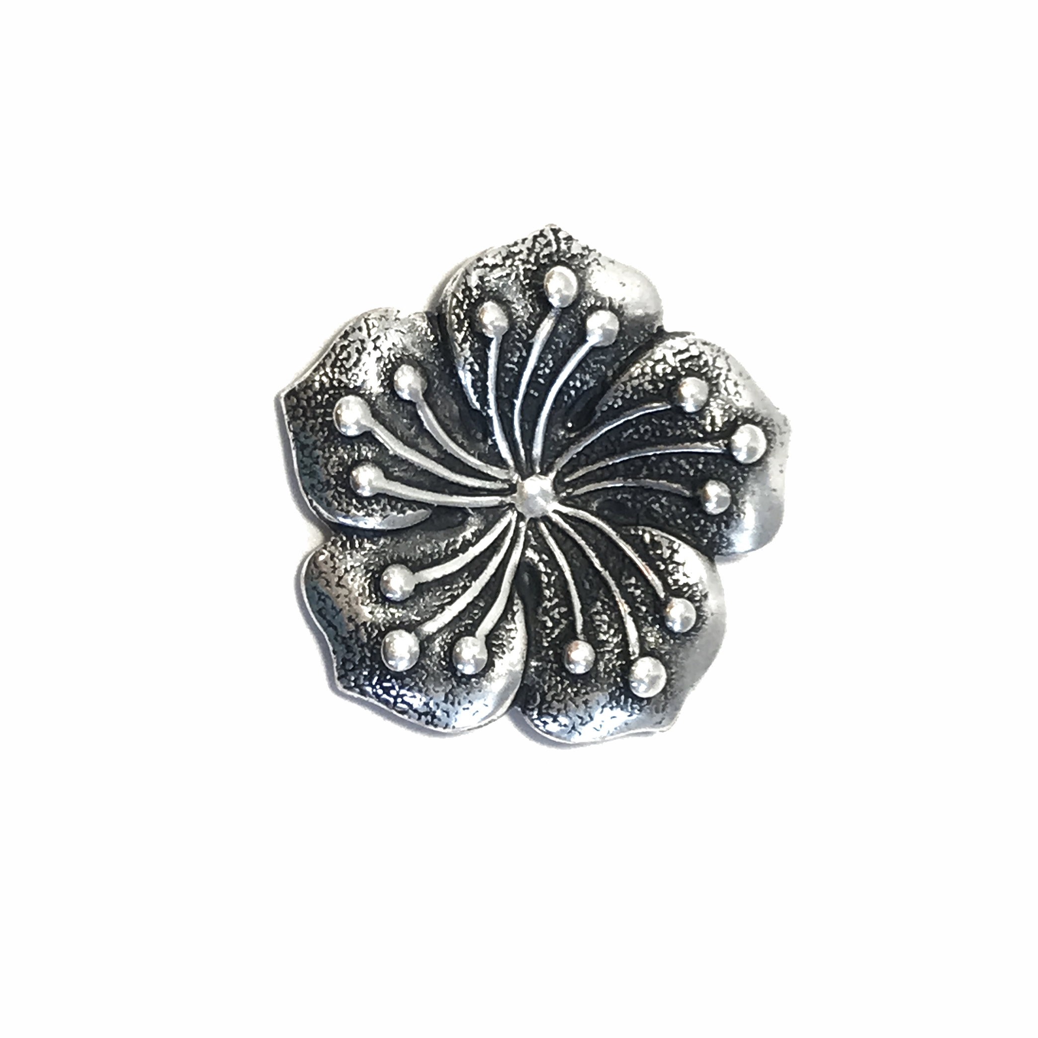 brass flower stamping, silver, 01016, flower stampings, US-made, Bsue Boutiques, nickel-free, floral stamping, dapt flower stamping, silverware silverplate, black antiquing, five-petal flower