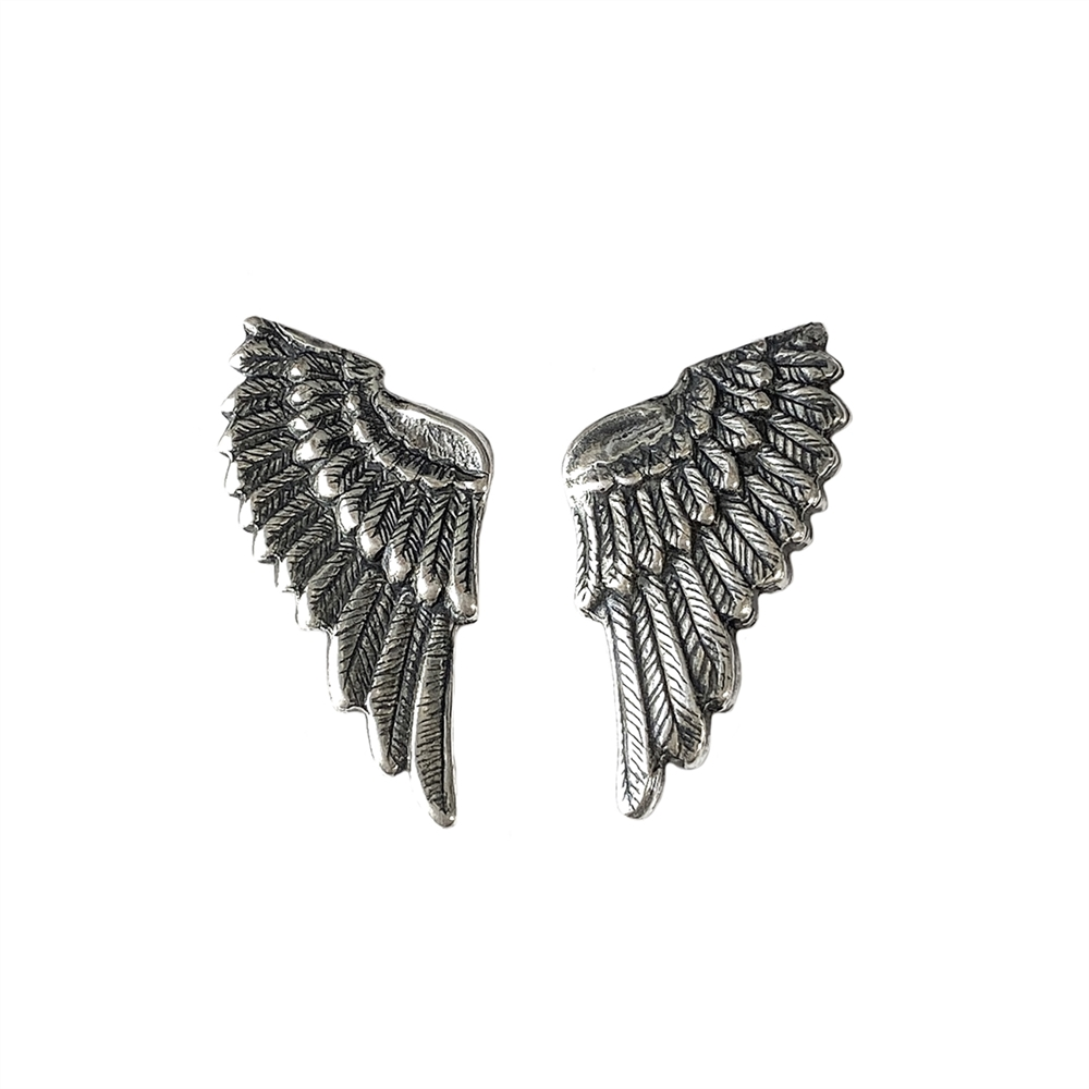 brass wings, bird wings, silver plate, 01038, antique silver, silverware silver plate, bird wings, Steampunk Art, vintage jewelry supplies, jewelry making supplies, brass jewelry parts, US made, nickel free, Bsue Boutiques