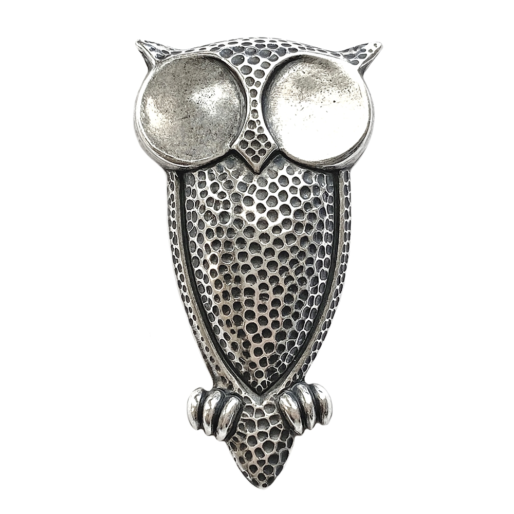 owl stamping, bird stamping, owl, silverware silverplate, antique silver, steampunk, US-made, nickel-free, owl jewelry, 53x29mm, brass stamping, stamping, jewelry making, jewelry supplies, vintage supplies, B'sue Boutiques, jewelry findings, 01302
