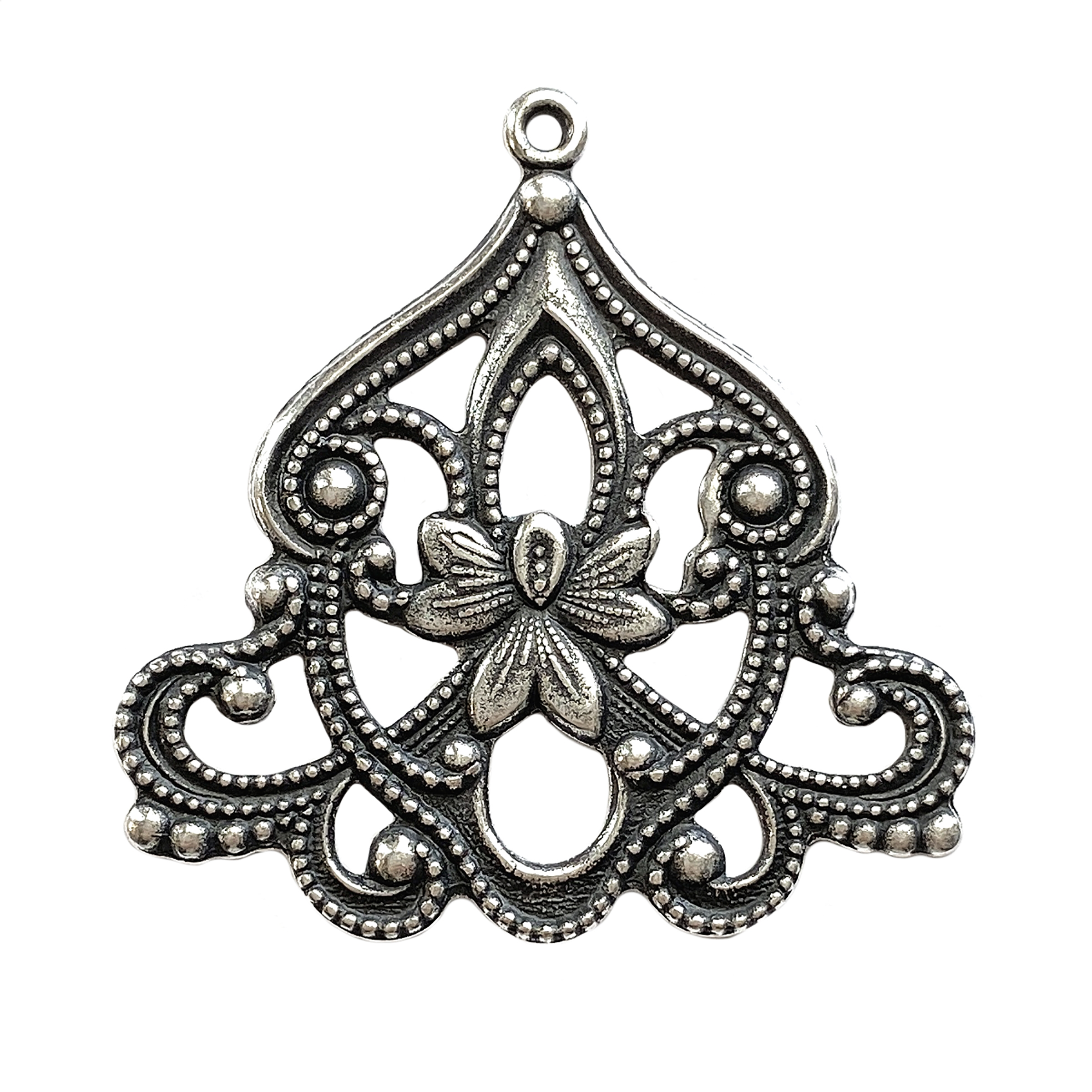 floral center pendant drop, silverware silverplate, silverware, silverplate, pendant drop, floral pendant, antique silver, filigree floral drop, filigree drop, jewelry making, jewelry supplies, vintage supplies, jewelry findings, B'sue, 39x40mm, 01309