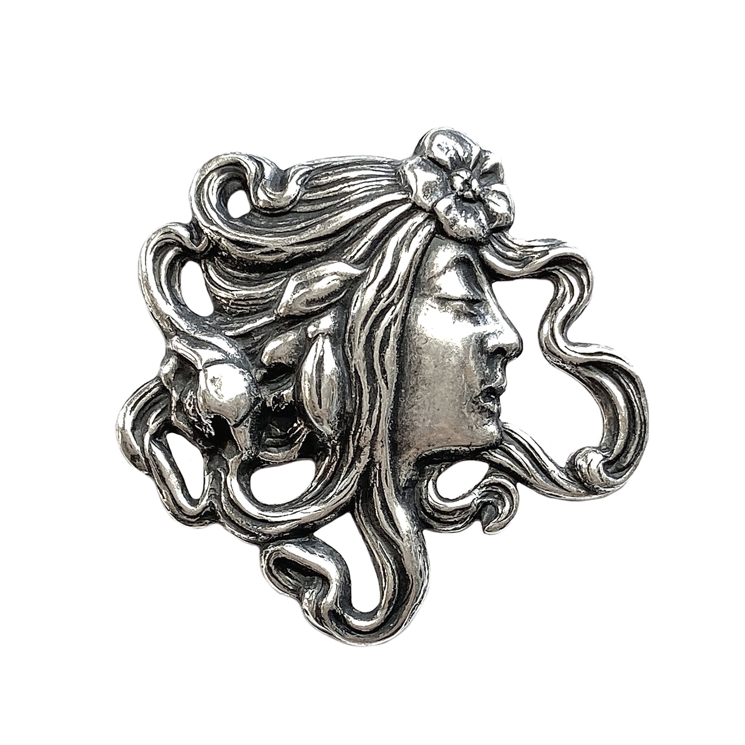 lady in the wind stamping, silverware silverplate, bohemian style, lady stamping, lady face, brass stamping, boho style, jewelry making, jewelry supplies, vintage supplies, B'sue Boutiques, antique silver, 36x36mm, US-made, nickel-free, 01310