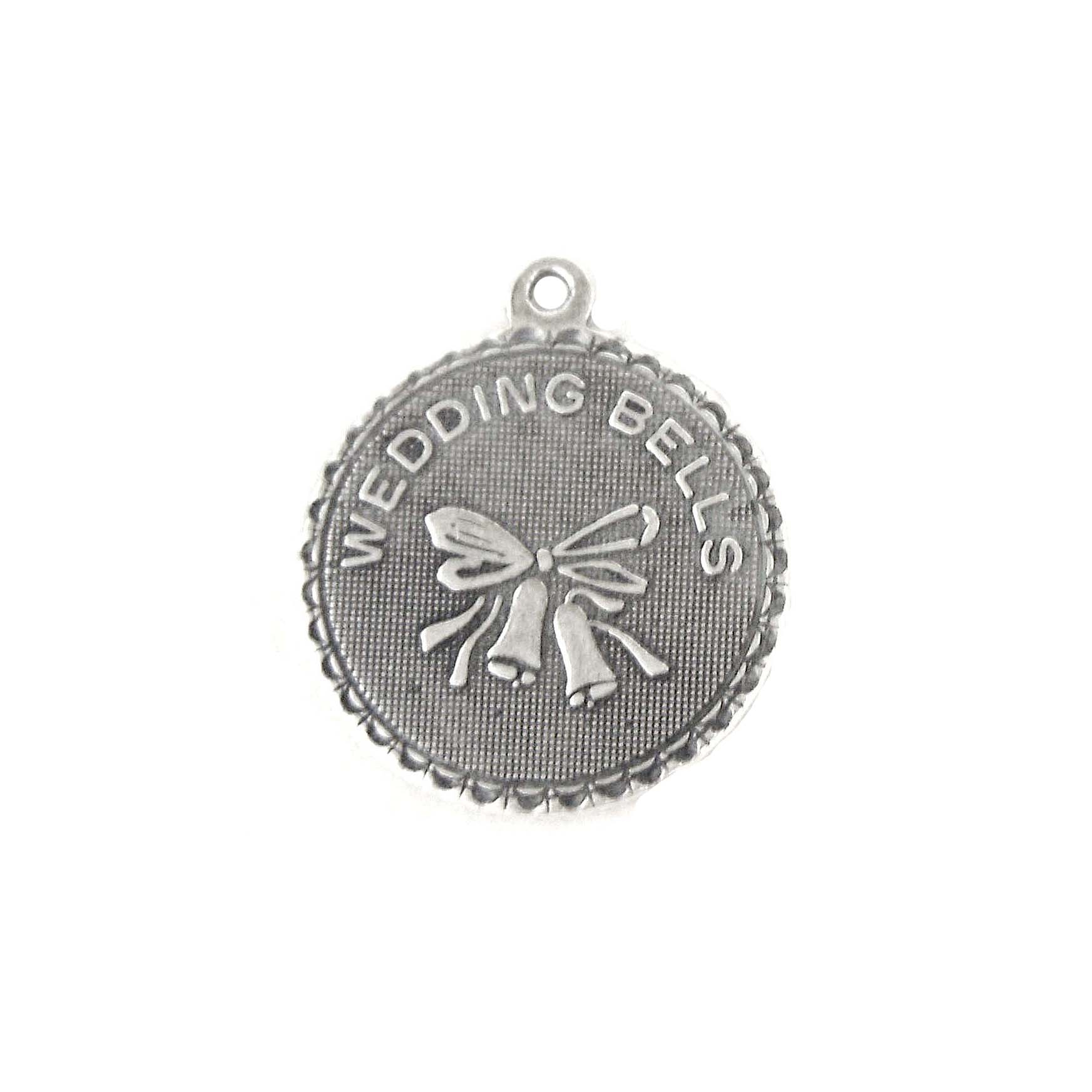 Charm, Pendant, Wedding Bells, Brass, Silverware Silverplate, 18mm