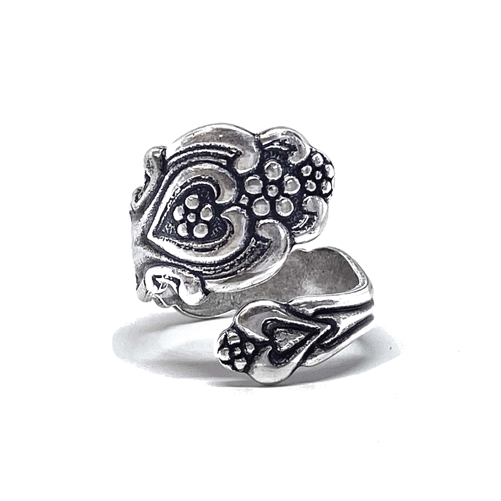 silverware silverplate, spoon ring, 01651, ring, silver ring, silver, floral ring, flowers, complete ring, finished ring, spoon jewelry