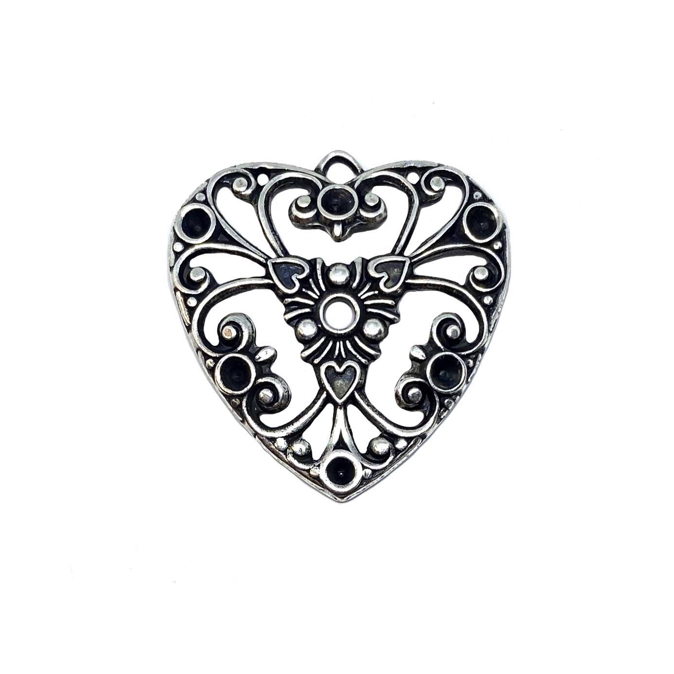 Brass Heart, Filigree Heart Charm, Heart Pendant, Silverware Silverplate, US Made, Nickel Free, 27 x 26mm