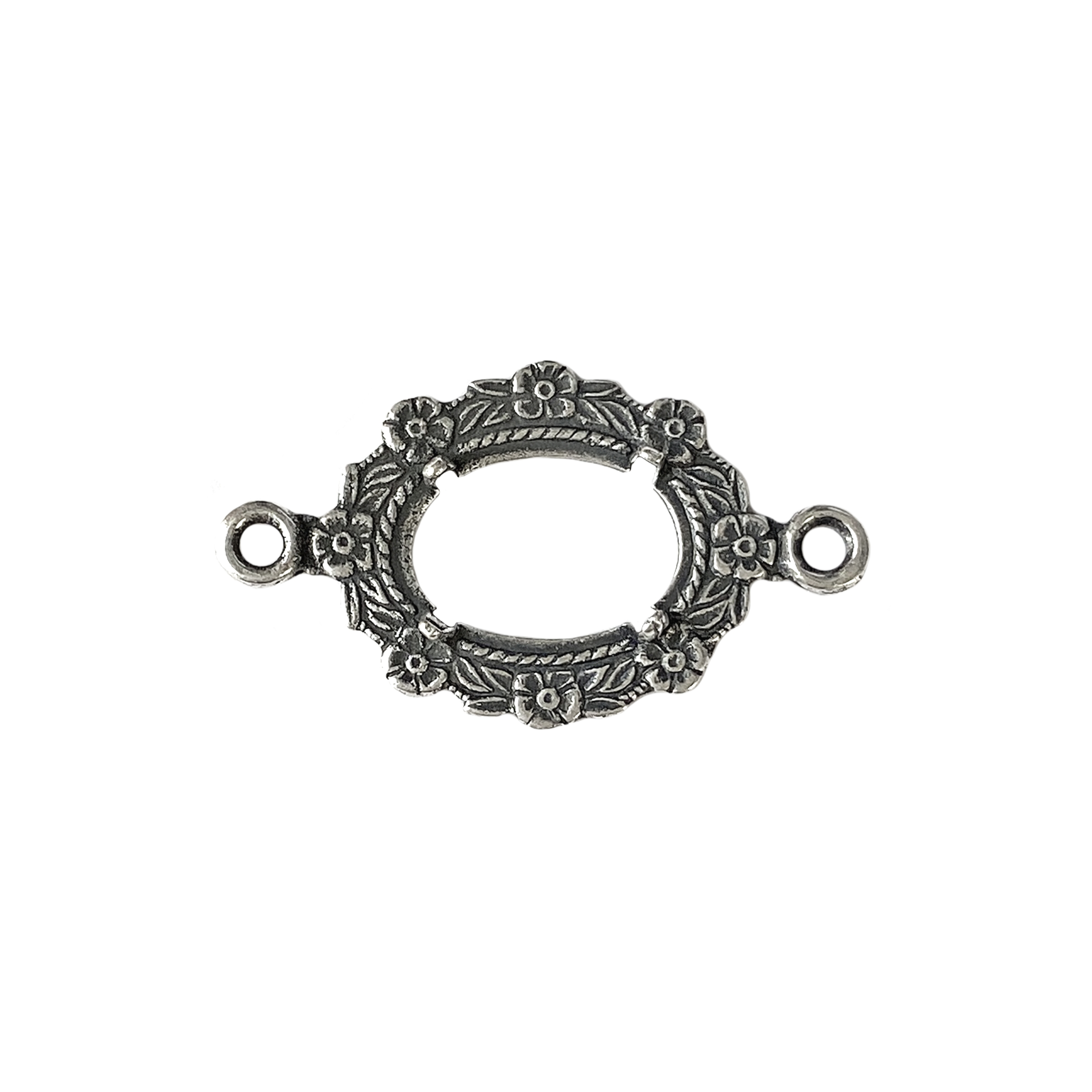 backless bezel connector, connector, silverware silver plated, antique silver, bezel, bezel connector, backless bezel, brass, stamping, US-made, jewelry supplies, vintage supplies, floral motif, B'sue Boutiques, jewelry findings, jewelry making, 01666