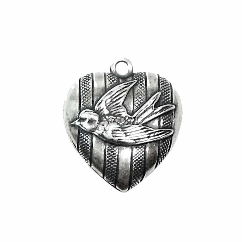heart charm, bird, silver, 01678, silverware silverplate, bird on a heart, silver charm, bird charm, jewelry supplies