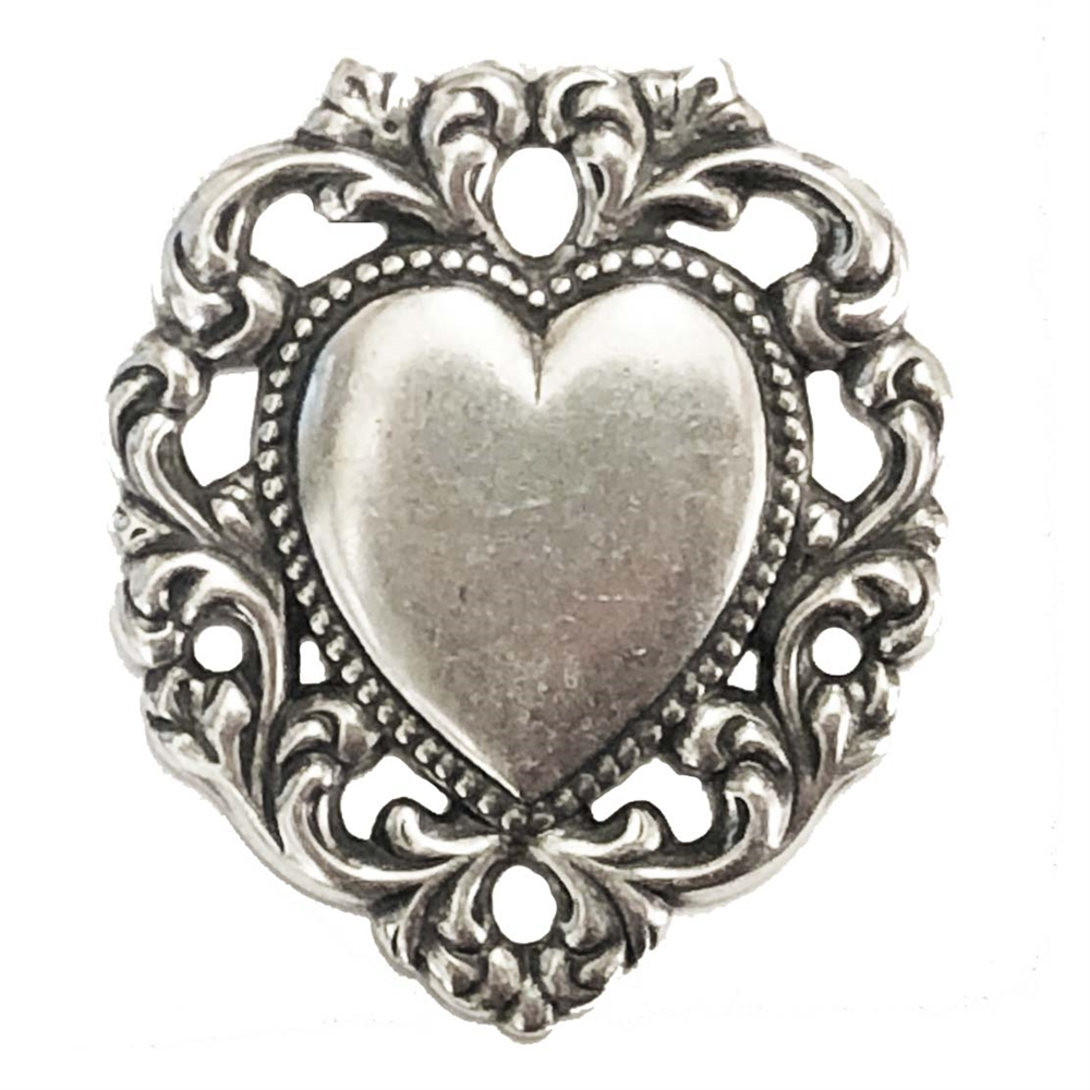 brass hearts, heart base, 01679, lace edge heart, vintage jewelry supplies, jewelry making supplies, antique silver, silverware silver plate, black antiquing, heart pendants, heart charms, US made, nickel free jewelry supplies, bsueboutiqes