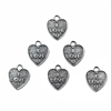 Brass Heart, Heart Charm, I Love U, Silverware Silverplate, 12 x 10mm