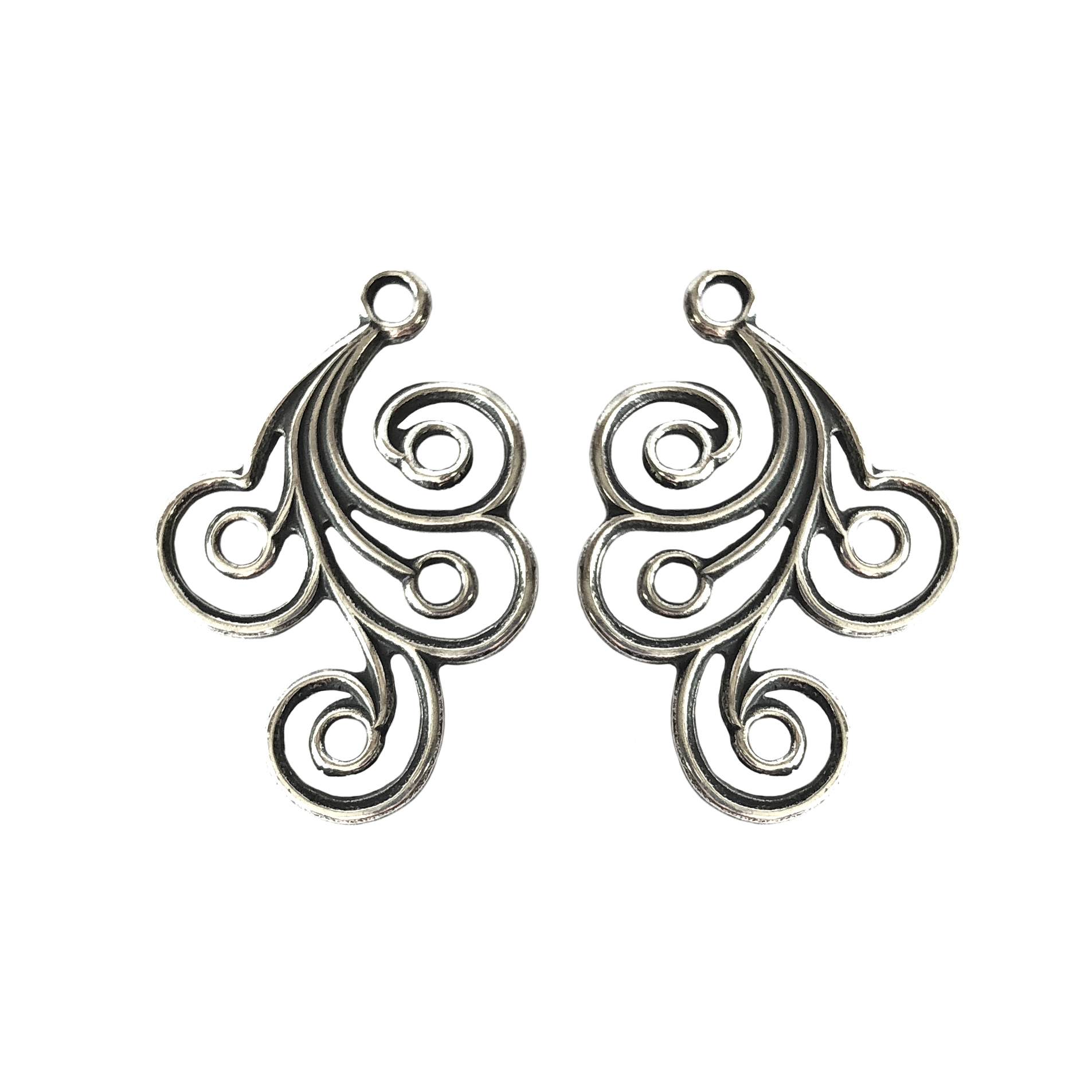 brass ear drops, brass filigree, silver, 01714, B'sue Boutiques, nickel free, US made, brass jewelry parts, vintage jewellery supplies, antique silver, silverware silverplate, brass ear rings, silverplate ear rings