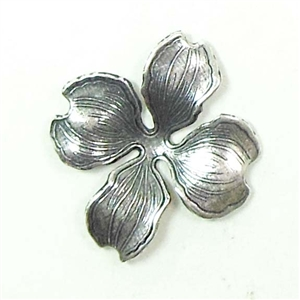Brass Stampings, Brass Flower Stamping, Four Petal, Silverware Silverplate, 24 x 28mm
