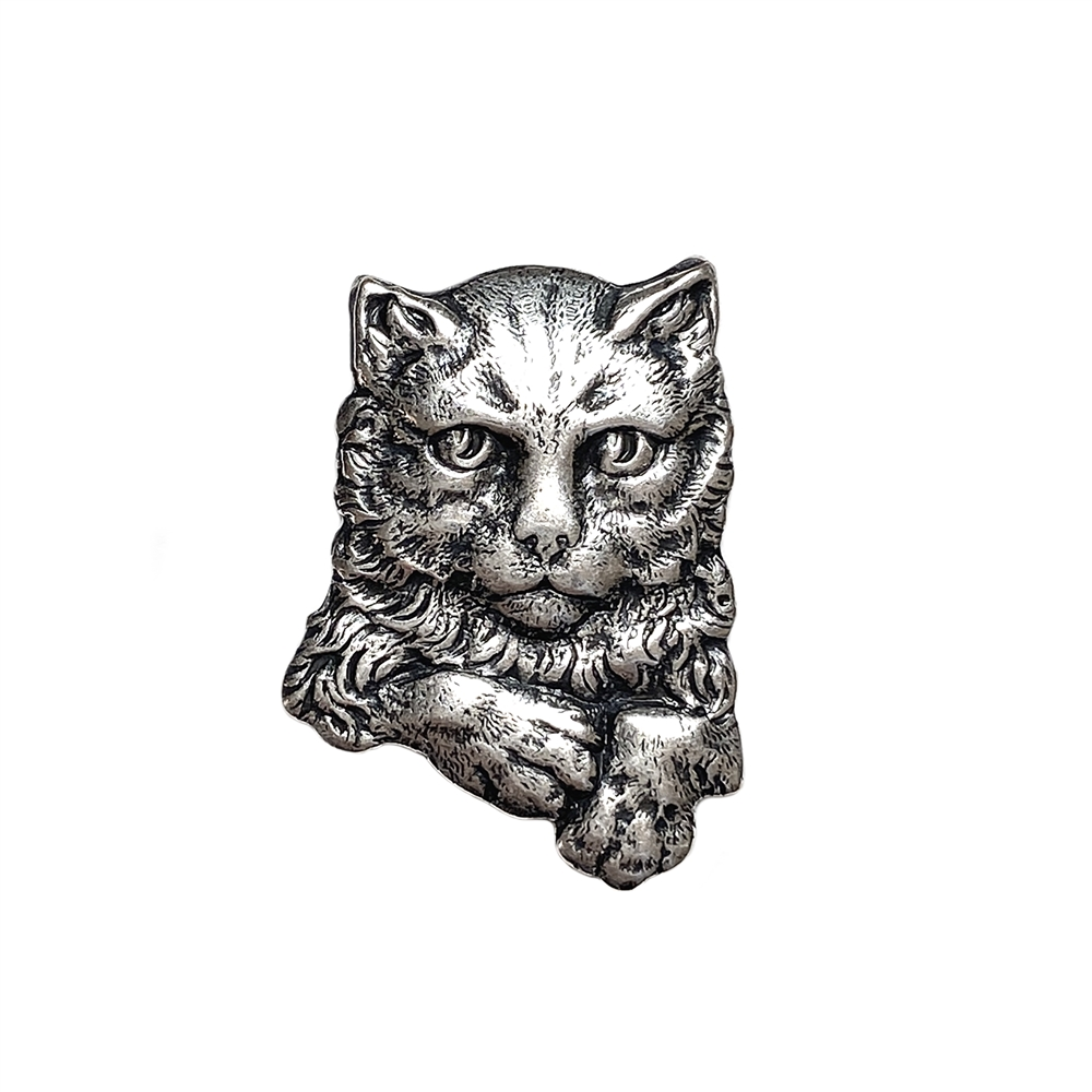 Brass Stamping, Cat Stamping, Buster Kitty, Silverware Silverplate, 30 x 22mm