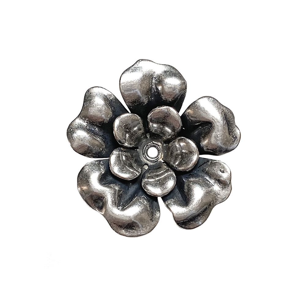 Two Layered Tea Rose Flower, Silverware Silverplate, 28mm, Riveted
