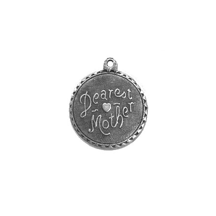 dearest mother charm, pendant, 02162, silverware silverplate, silver charm, B'sue Boutiques, jewelry supplies, charms