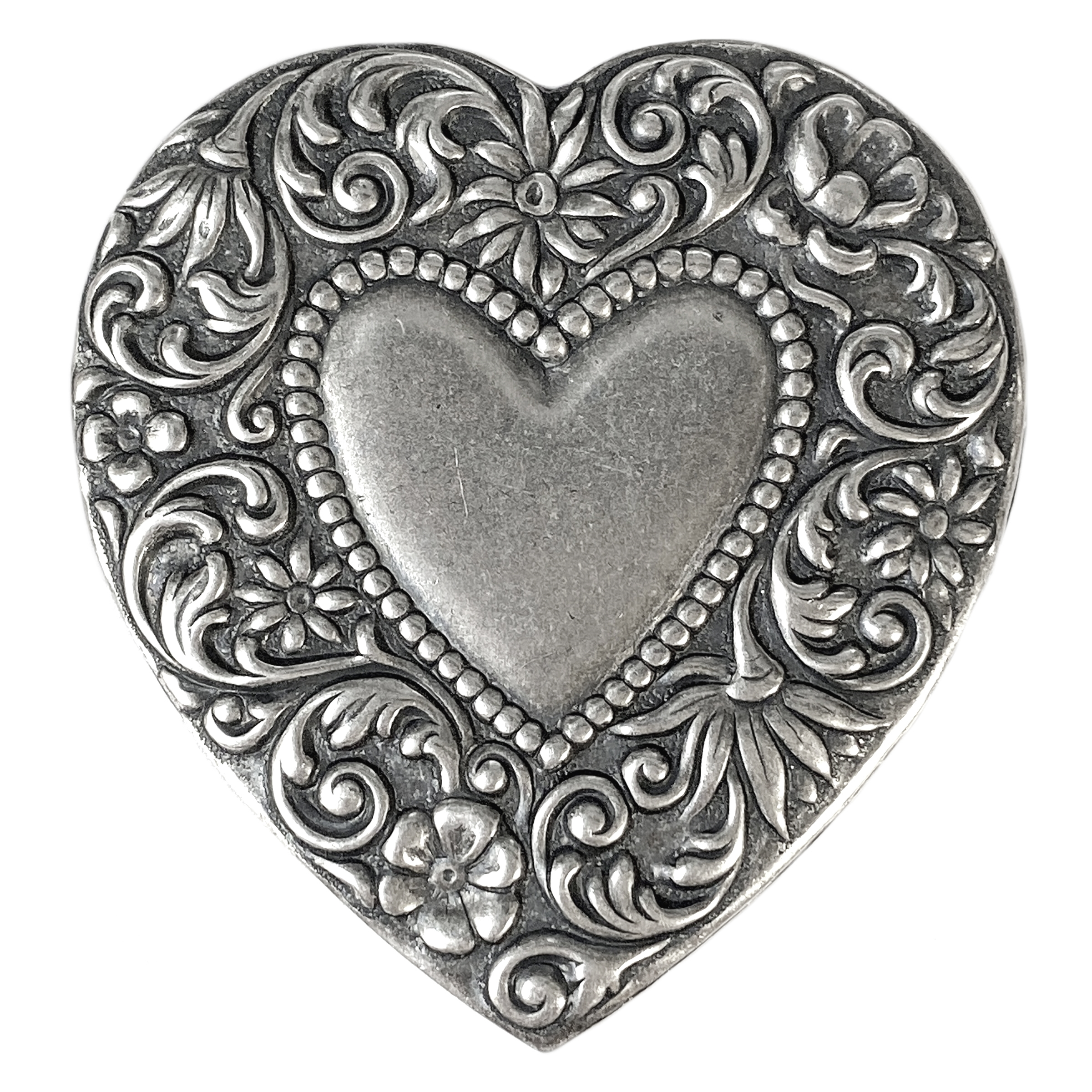 Brass Stampings, Brass Hearts, Heart Blank,Floral Heart, Silverware Silverplate, 49 x 46mm