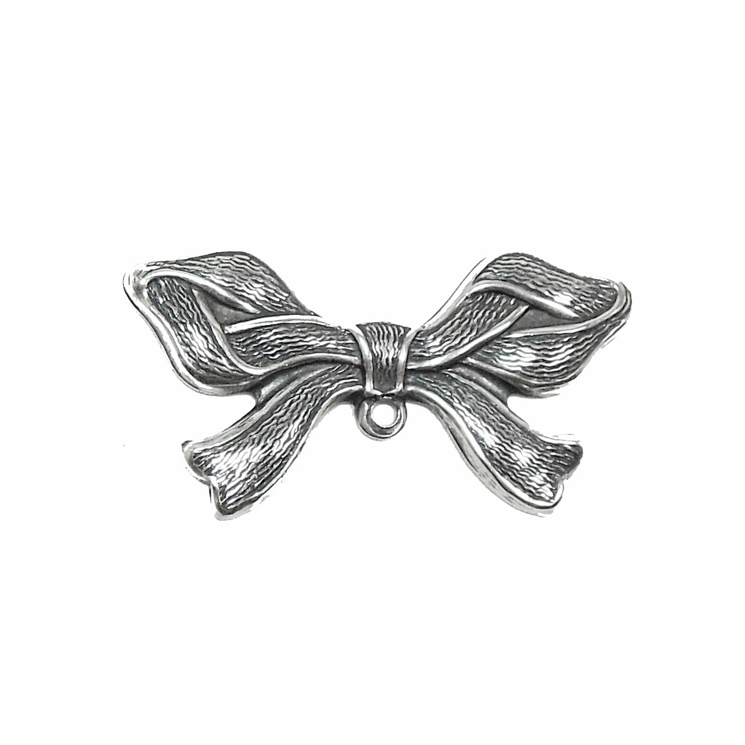brass bow, ribbon jewelry, silver plate, 02171, antique silver, silverware silver plate, charm enhancer, vintage jewelry supplies, US made, nickel free, Bsue Boutiques, jewelry making supplies