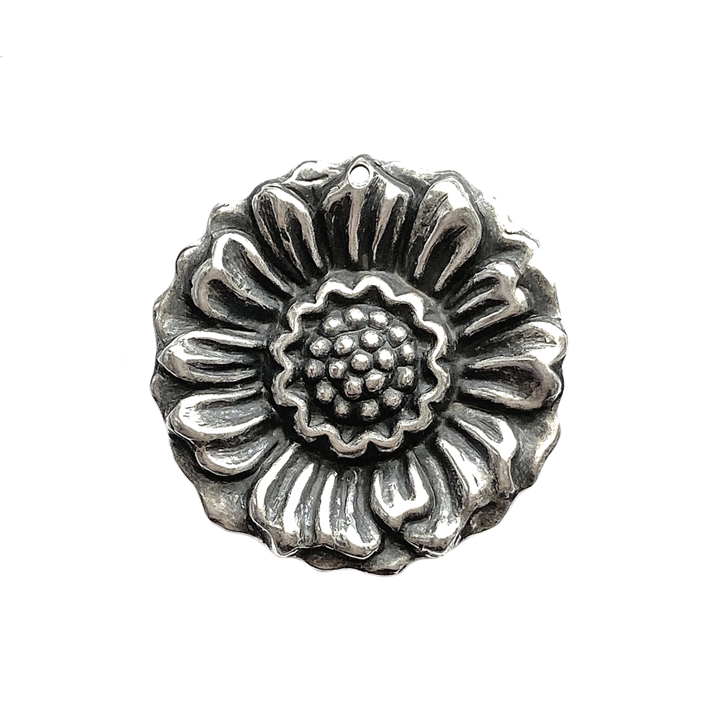 sunflower pendant, drilled, antique silver, silverware silverplate, silverware, silverplate, silver, pendant, sunflower, nickle free, US made, flower pendant, flower, brass, 30mm, jewelry making, vintage supplies, jewelry supplies, B'sue Boutiques, 02177