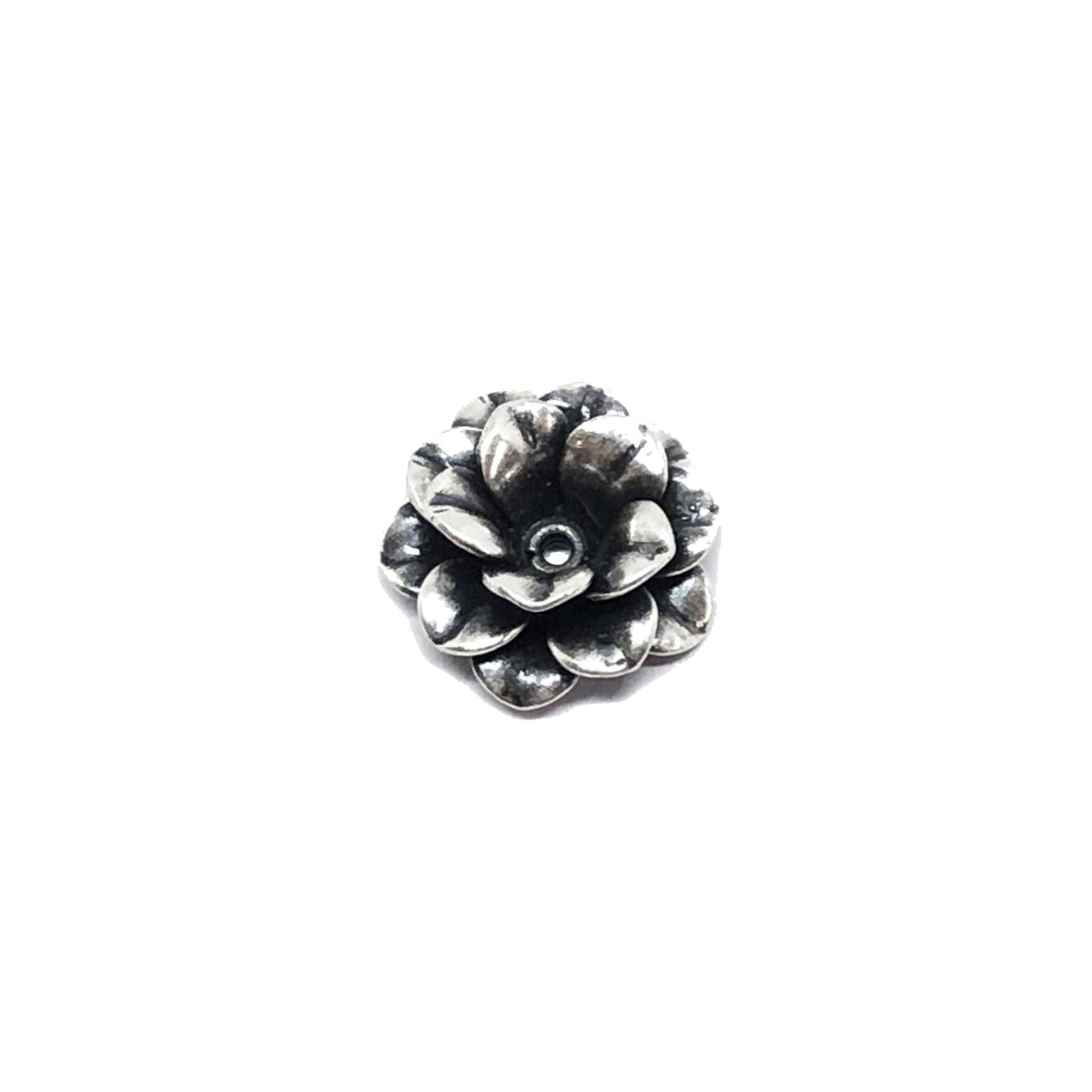 small tea rose flower, riveted flower, silverplate flowers, silverware silverplate finish, B'sue Boutiques, nickel free, US made, vintage supplies, jewelry making, jewelry supplies, layered flower, beading supplies, antique silver, silverplate, 13mm,02235
