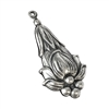 Brass Stampings, Floral Fob, Chatelaine, Two Sided, Silverware Silverplate, 47 x 23mm, US Made, Nickel Free