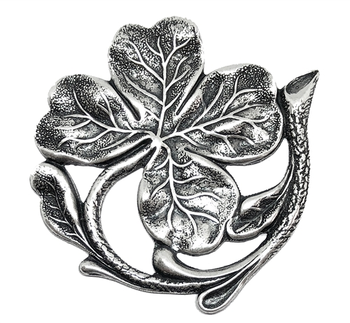shamrock stamping, brass stamping, silverware silverplate, silver, antique silver, shamrock, stamping, US made, nickel free, B'sue boutiques, jewelry making, vintage supplies, jewelry findings, jewelry supplies, 47x43mm, shamrock design, 02239